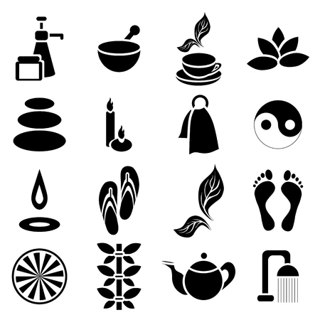 Simple spa icons set. Universal spa icons to use for web and mobile UI, set of basic spa elements illustration