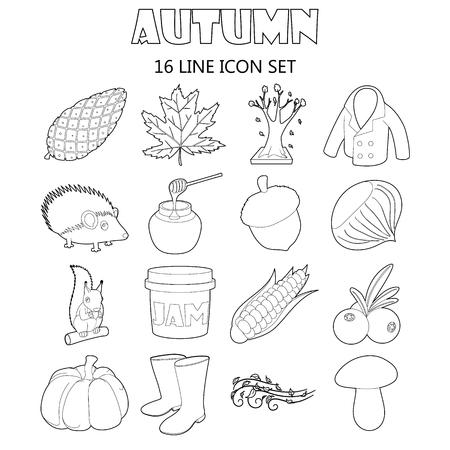 Outline autumn icons set. Universal autumn icons to use for web and mobile UI, set of basic autumn isolated illustration