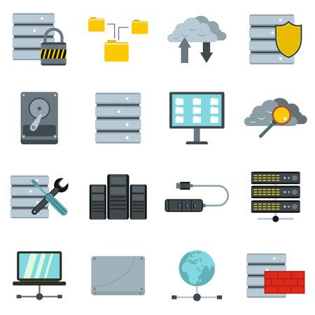 Database icons set, flat style Stock fotó