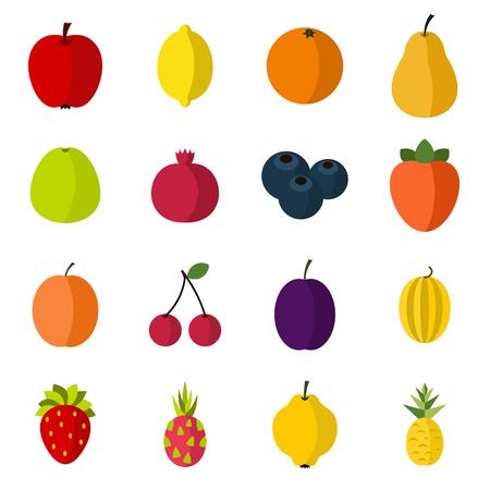 Fruit icons set, flat style Banque d'images - 106183153