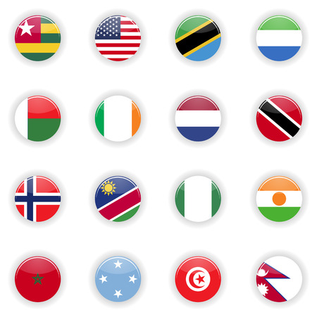 Flags set. Universal flags set to use for web and mobile UI illustration Stockfoto