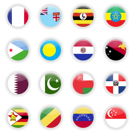 Flags set. Universal flags set to use for web and mobile UI illustration Stock Photo
