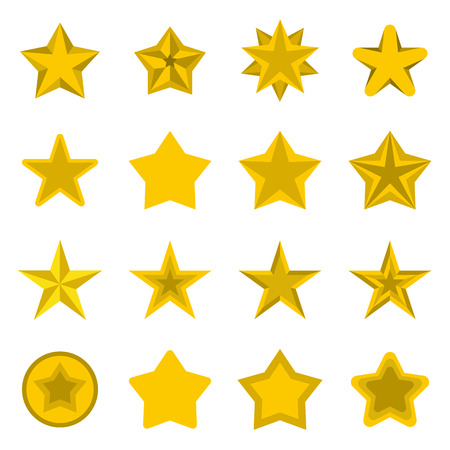 Flat star icons set. Universal star icons to use for web and mobile UI, set of basic star elements isolated illustration Stock Photo