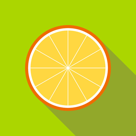 Orange slice icon in flat style isolated with long shadow Stock Photo