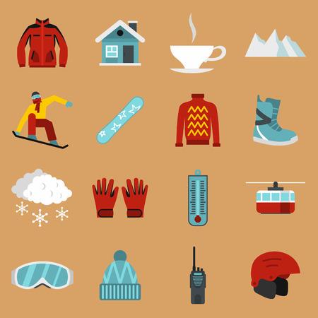 Flat snowboarding icons set. Universal snowboarding icons to use for web and mobile UI, set of basic snowboarding elements isolated illustration 版權商用圖片