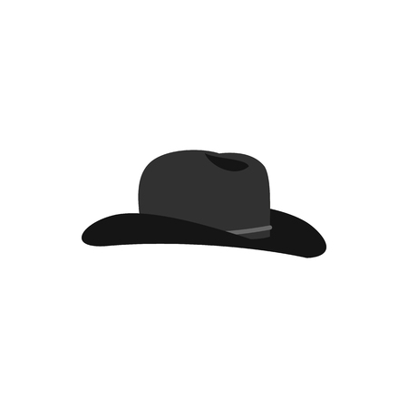 Cowboy hat icon in flat style on a white background
