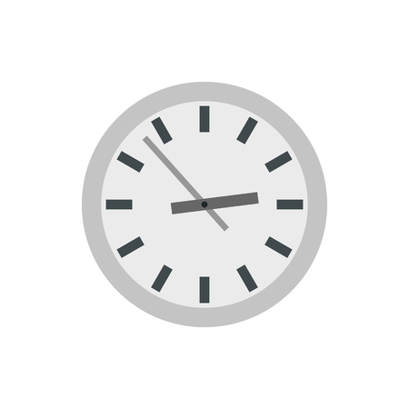 Wall clock icon in flat style on a white background