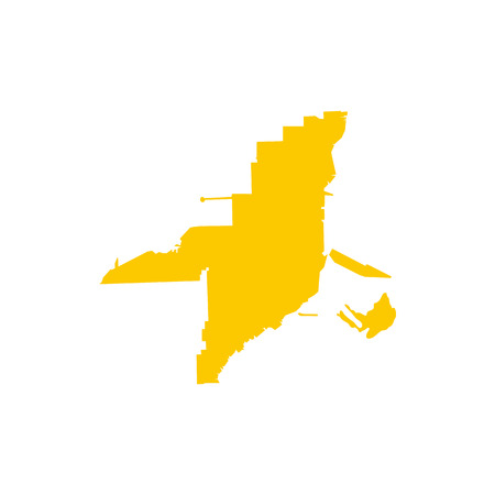 Florida yellow map icon, flat style