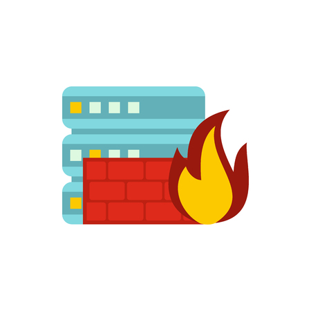 Fire protection in file store icon, flat style