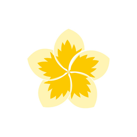 Frangipani flower icon in flat style isolated on white background. Plant symbol Stock Photo