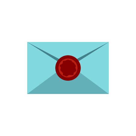Letter with sealing wax icon in flat style isolated on white background. Message symbol