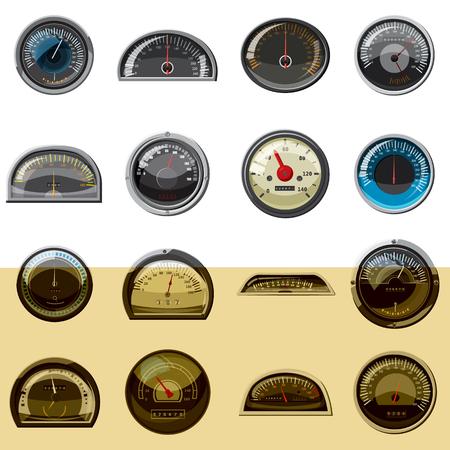 Realistic car speedometers icons set. Universal car speedometers icons to use for web and mobile UI, set of basic car speedometers elements isolated illustration