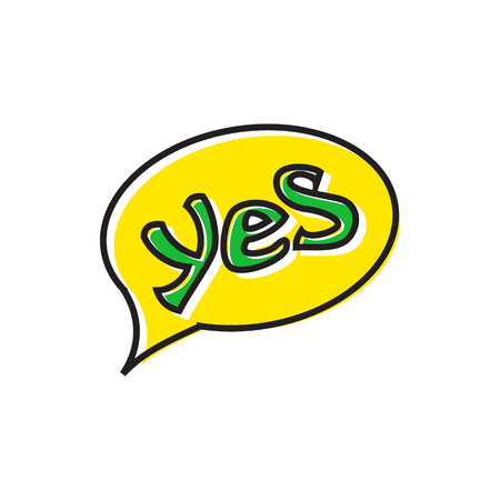 Word yes in bubble speech icon in flat style isolated on white background. Click and choice symbol