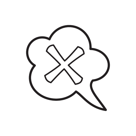 Cross in cloud icon in outline style isolated on white background. Click and choice symbol
