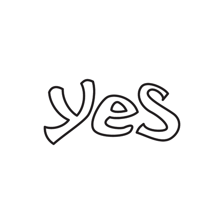 Word yes icon in outline style isolated on white background. Click and choice symbol Stock Photo
