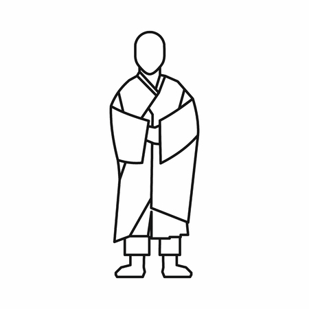 Buddhist monk icon in outline style isolated on white background illustration