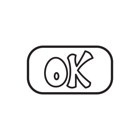 Sign ok icon in outline style isolated on white background. Click and choice symbol Stock Photo