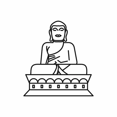 Buddha statue icon in outline style isolated on white background illustration
