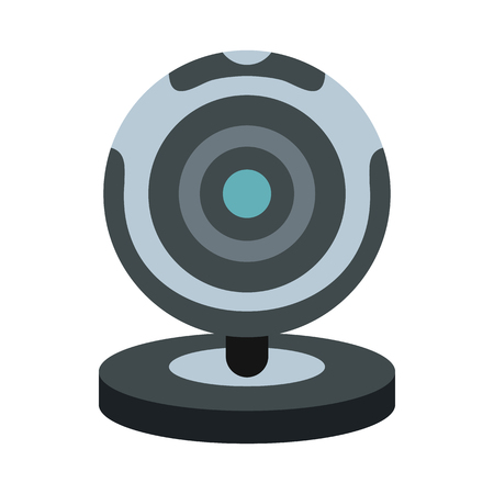 Webcam icon in flat style isolated on white background. Video symbol