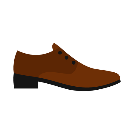 Male brown shoe icon in flat style on a white background Stok Fotoğraf