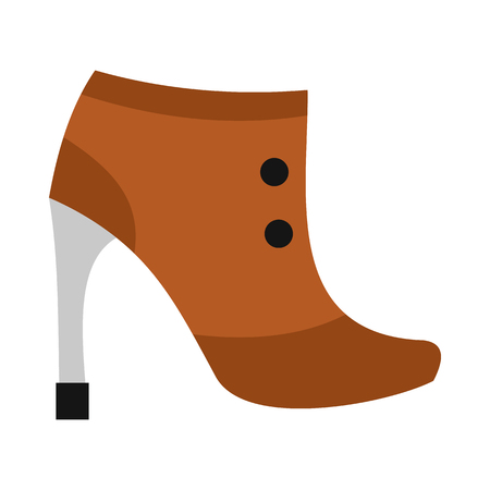 Brown boot with high heel icon in flat style on a white background