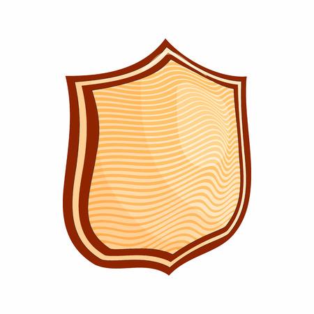 Striped shield icon, cartoon style