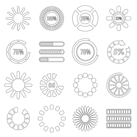Loading bars and preloaders set, outline style Stock Photo