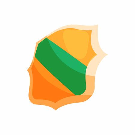 Green band shield icon, cartoon style