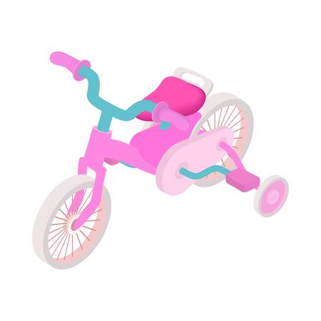 Pink trike icon, cartoon style