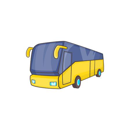 Icono de autobús turístico amarillo, estilo de dibujos animados