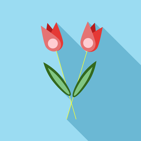 Two flowers on grave icon, flat style