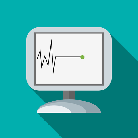 Monitor recorded cardiac arrest icon, flat style