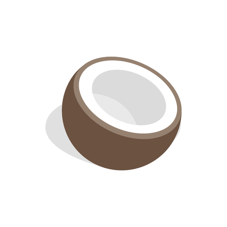 Half of coconut icon, isometric 3d style Stok Fotoğraf