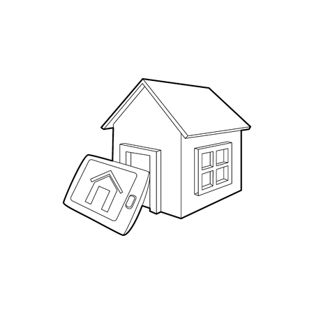 Smart home icon in outline style isolated on white background. Innovation symbol