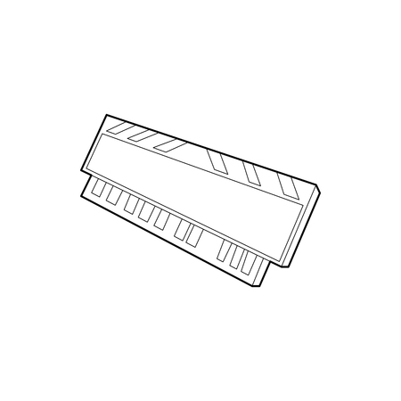 DVD RAM module for the personal computer icon in outline style on a white background Stock Photo