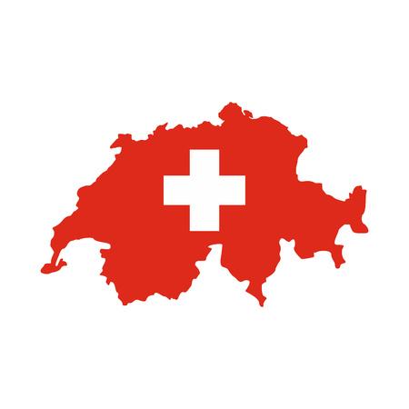 Map of Switzerland icon, flat style Stock Photo