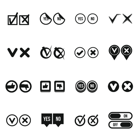 Check mark icons set, simple style Stock Photo