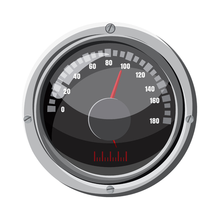 Round speedometer icon, cartoon style Stock Photo