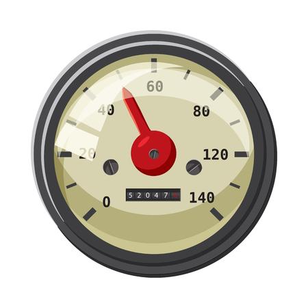 Speedometer with red arrow icon, cartoon style Stock Photo