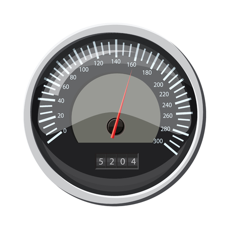 Speedometer at 160 km in hour icon, cartoon style