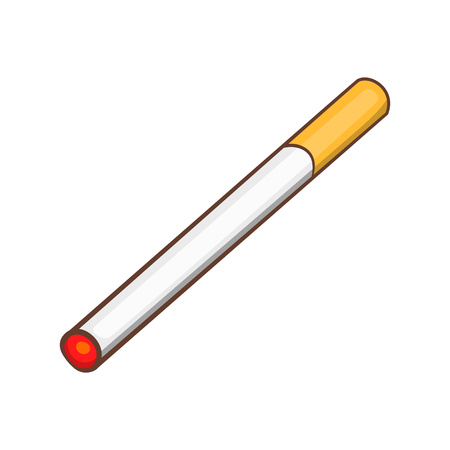 Cigarette icon, cartoon style