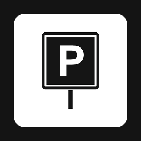 Parking sign icon in simple style isolated on white background. Place symbol
