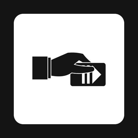 La mano paga per l'icona di parcheggio in stile semplice isolato su priorità bassa bianca. Simbolo di pagamento Archivio Fotografico