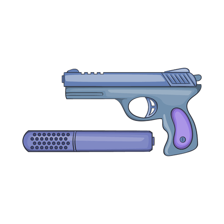 Pistol and silencer icon in cartoon style on a white background