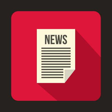 Newspaper icon in flat style on a crimson background