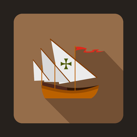 Columbus ship icon in flat style isolated with long shadow