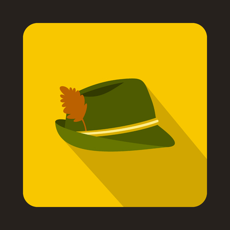 Oktoberfest tirol hat icon in flat style isolated with long shadow
