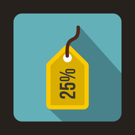 Yellow price tag, 25 percen icon in flat style on a baby blue background