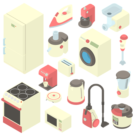 Household appliance icons set in cartoon style. Consumer electronics set collection illustration