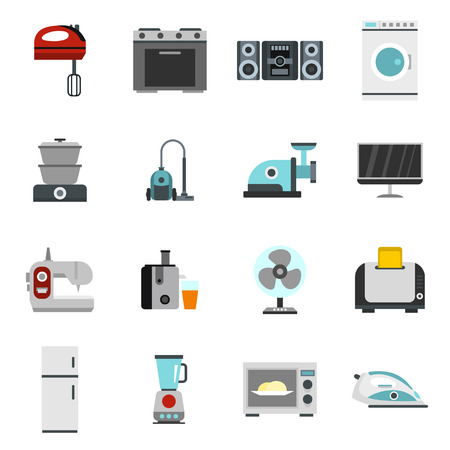 Household appliance icons set in flat style. Consumer electronics set collection illustration
